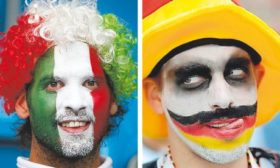 An Italian and German fan at Euro 2010: who will have the last laugh?